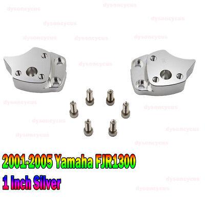 "2001-2005 Yamaha FJR1300 1/"" Front Silver Handlebar Riser Spacers Convenience Kit"