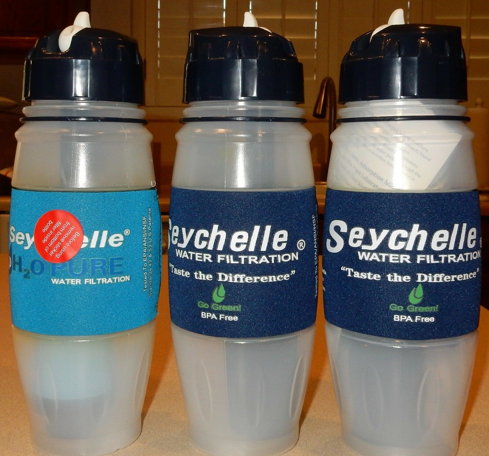 3 Water Bottles With Filtration System - portable Water Filter Seychelle