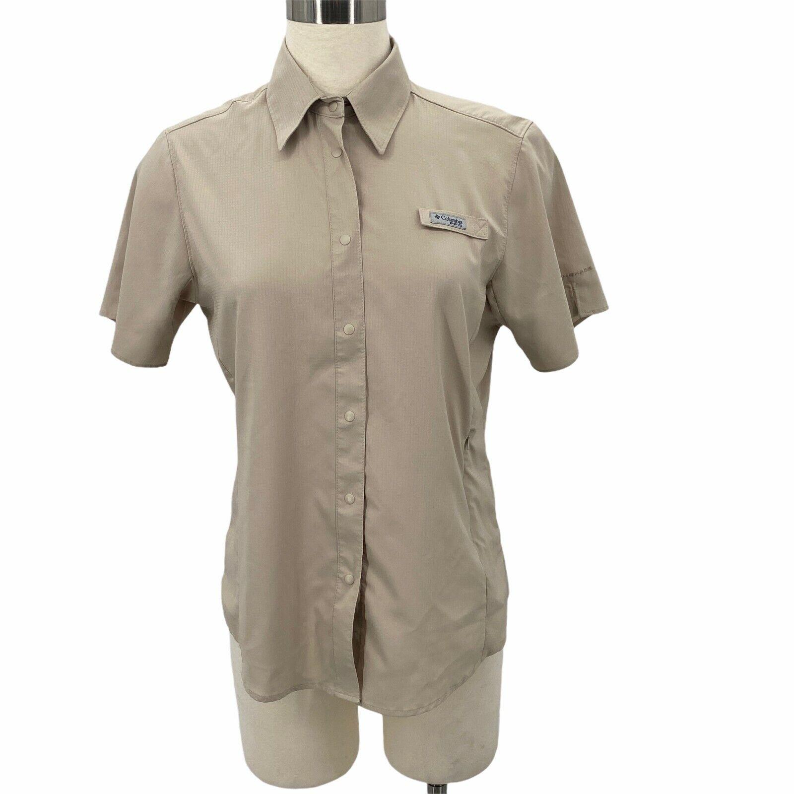 Columbia Pfg Shirt Crystal Springs Snap Up Vented Khaki Upf Women's Size Small