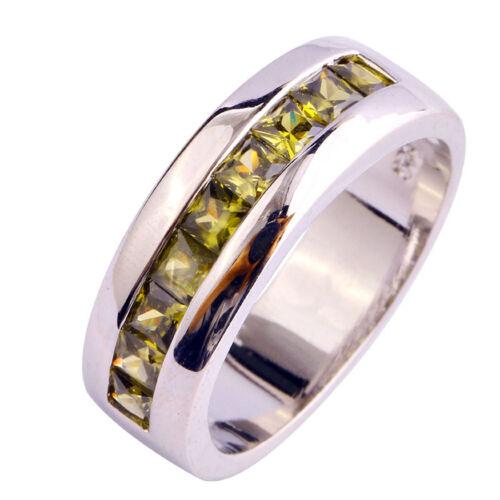 New Fashion Princess Cut Peridot Gemstone Silver Ring Size 7 8 9 10 FreeShipping