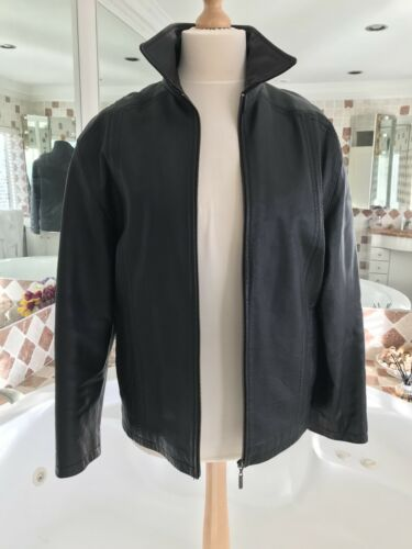 66f5dee5d0822 3 sur 5 CIRO CITTERIO Men s Black 💯% Leather Jacket -Gold Zip-Size Medium  (42