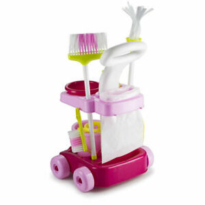 Cleaning Trolley Set Play Game Hoover Mop Brush Kid Child