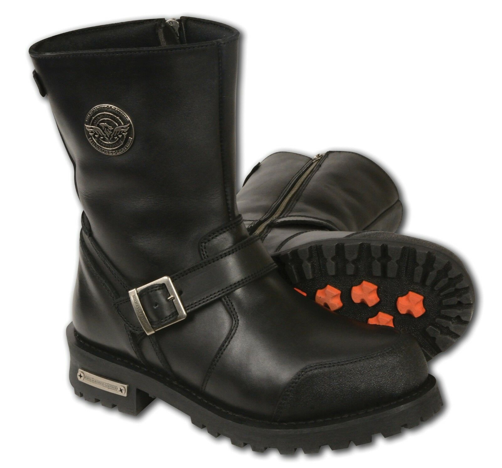 Mens Black Leather Classic Engineeer Boots w  Side Zipper Entry Abrasion Guard