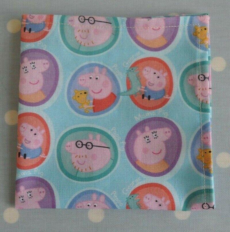 Cotton handkerchief hankie pocket square Peppa Pig and friends blue pink multi