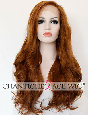 Golden Brown Long Wavy Synthetic Lace Front Wig For Women Heat Resistant 24""