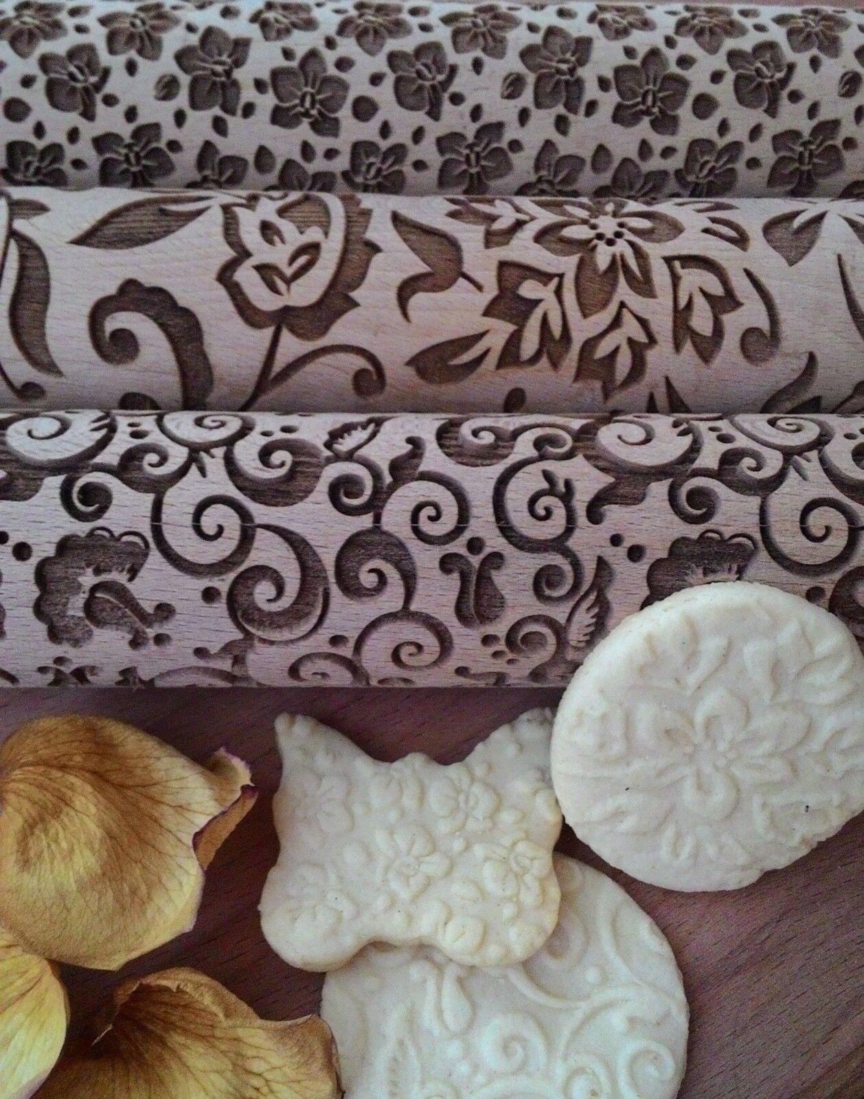 Wooden Rolling Pin Laser cut Natural Flowers Design pattern embossing Set 3 pcs