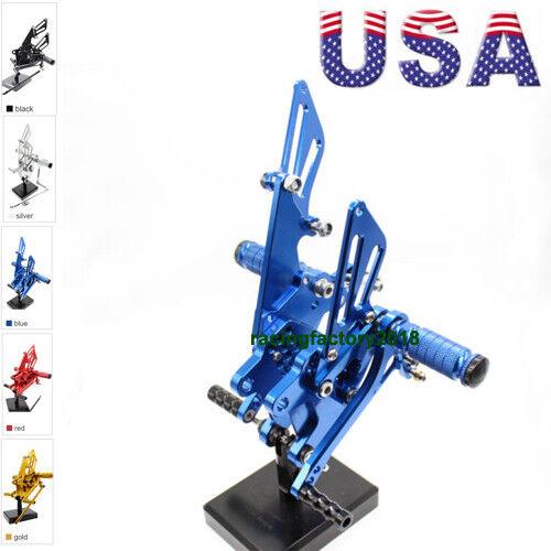 US Black Rearsets Footrests Footpegs For Kawasaki Ninja ZX10R 2006-2010 2007 08