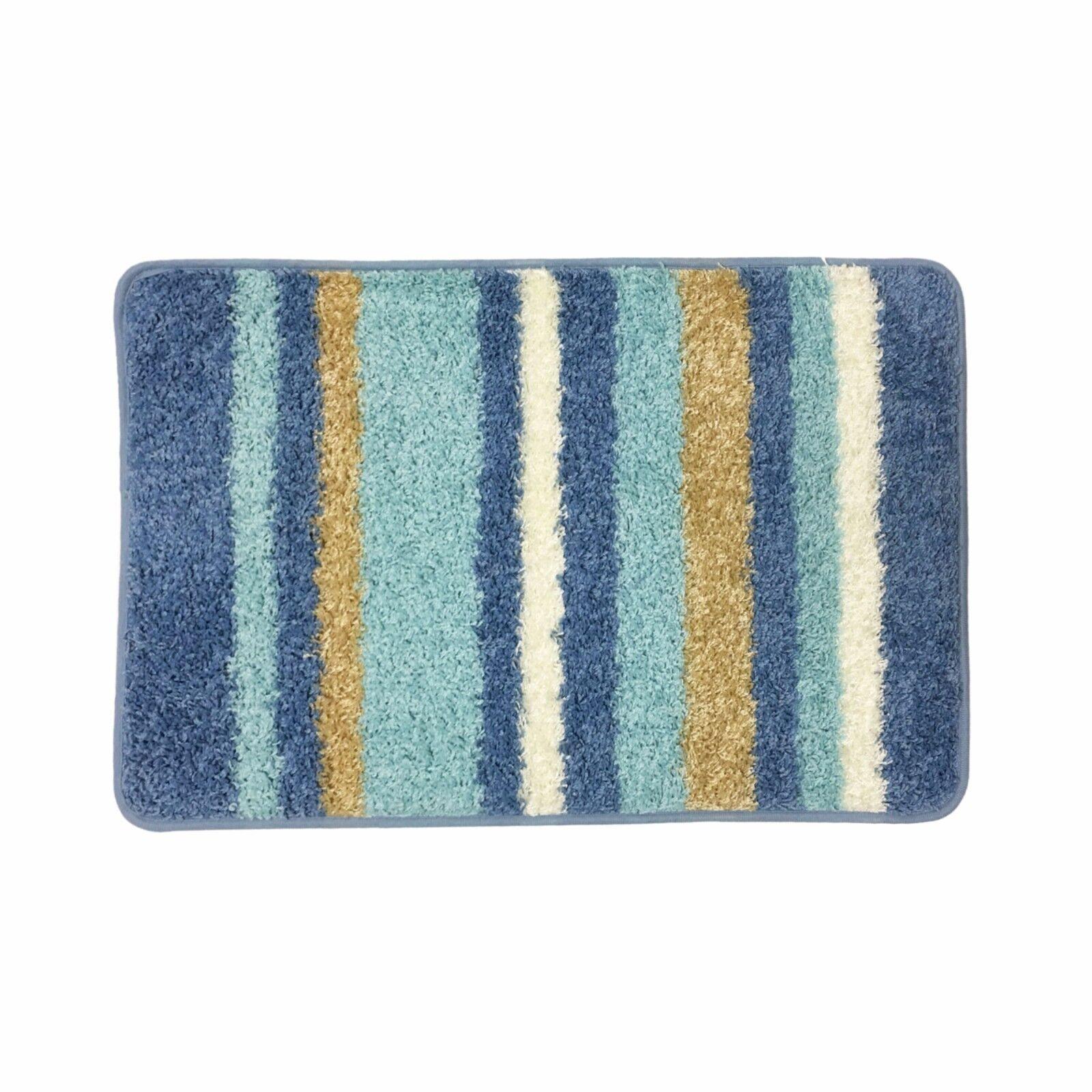 """Abby Stripe Bath Rug, Bathroom Floor Mat, 20""""x32"""", Rubber"""
