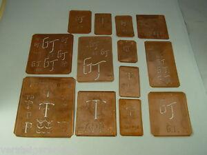 13-x-GT-alte-Merkenthaler-Monogramme-Kupfer-Schablonen-Stencils-Patrons-broder