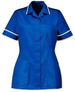 WOMENS-NURSES-HEALTHCARE-TUNIC-DENTAL-SALON-ROYAL-BLUE-SIZES-UK-8-24-INS32RB