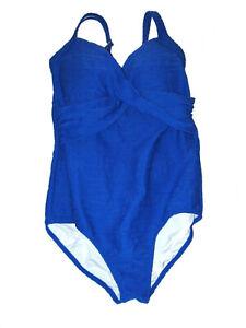 Lands-End-Swimsuit-Bathing-Suit-1-Piece-Brilliant-Sapphire-Blue-14-NWT-Nylon