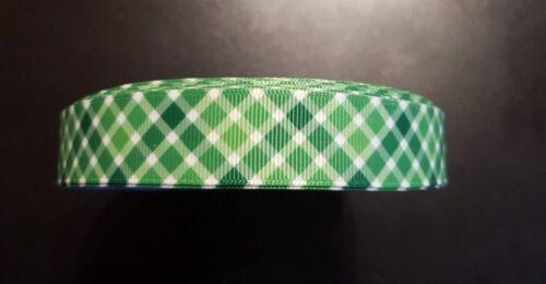 Borte 3582 Grün Kariert 22mm Breite Ripsband Webband