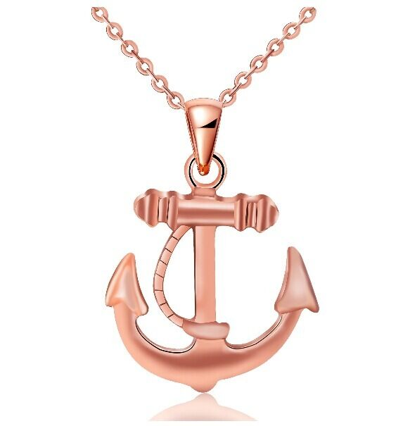 Artistic Womens 9K Rose Gold Filled  with Anchor Shape Necklace & Pendant Y-B539