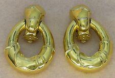Vintage Signed CINER Gold tone Door Knocker Earrings