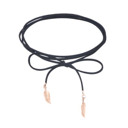 Mujeres Gargantilla Collar De Gamuza Cuero Negro Soga Cadena Collar Hoja