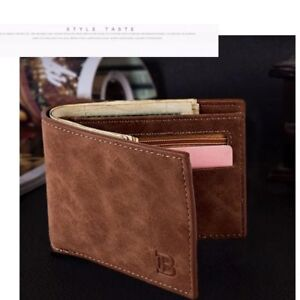 Mens PU Leather Wallet Pocket Coin Credit ID Card Money Holder Bifold Slim Purse