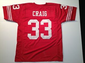 Details about UNSIGNED CUSTOM Sewn Stitched Roger Craig Red Jersey - M, L, XL, 2XL