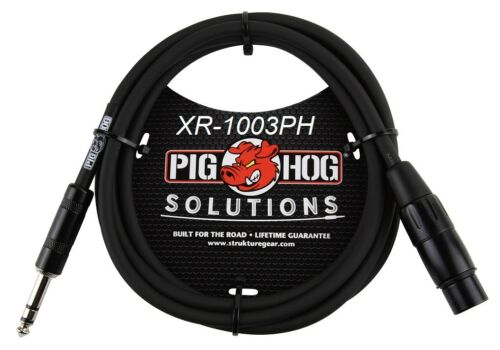 """3ft 1//4/"""" TRS Male to XLR 3-Pin Female Shielded Balanced PigHog Audio Cable"""