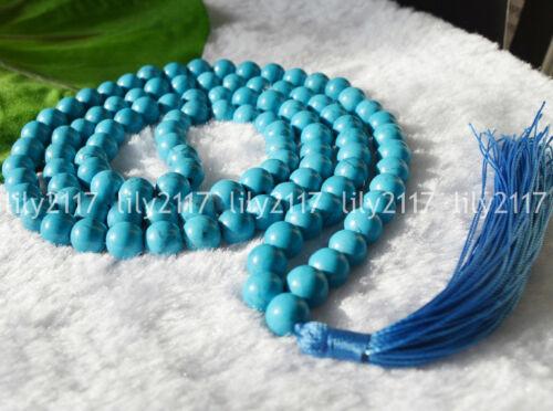 Natural 8//10//12mm Tibet Buddhist 108 Blue Turquoise Prayer Beads Gems Necklace
