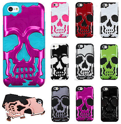 For Apple iPhone 5C SKULL Hybrid Dual Layer Phone Case Cover Accessory
