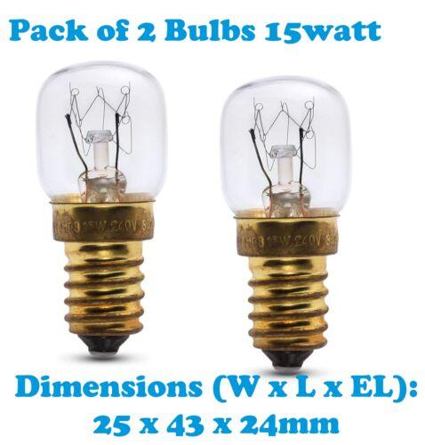 2x 15 Watt SES E14 300C Cooker Oven Microwave lamp Bulb Dessauer N-DR