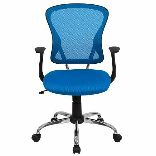 Flash Furniture Mid-back Blue Mesh Office Task Chair With Chrome Finished Base for sale online