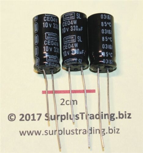 Nippon electrolítico radial 330uF 10V 85C pk de 3