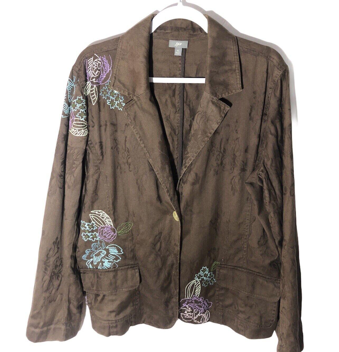 J. Jill Women's XL Brown Embroidered Floral One Button Long Sleeve Blazer Jacket