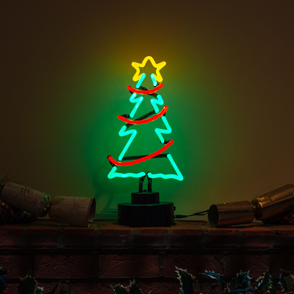 Handmade CHRISTMAS TREE & GARLAND & Star Light Decoration Table Mantle Neon Sign