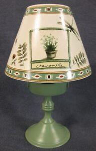 Pfaltzgraff-Naturewood-Votive-Candle-Lamp-with-Shade-Stoneware-Chamomile