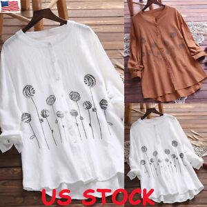 834d2debcc86e Plus Size Boho Women Long Sleeve Kaftan Baggy Blouse T Shirt Tops ...
