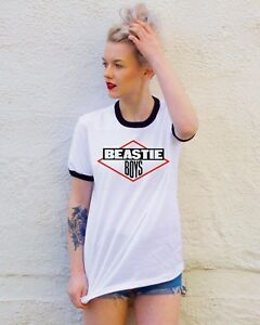 Beastie-Boys-T-Shirt-Cool-Vinyl-Classic-Retro-Schwarz-Weiss-Ringer-Tee