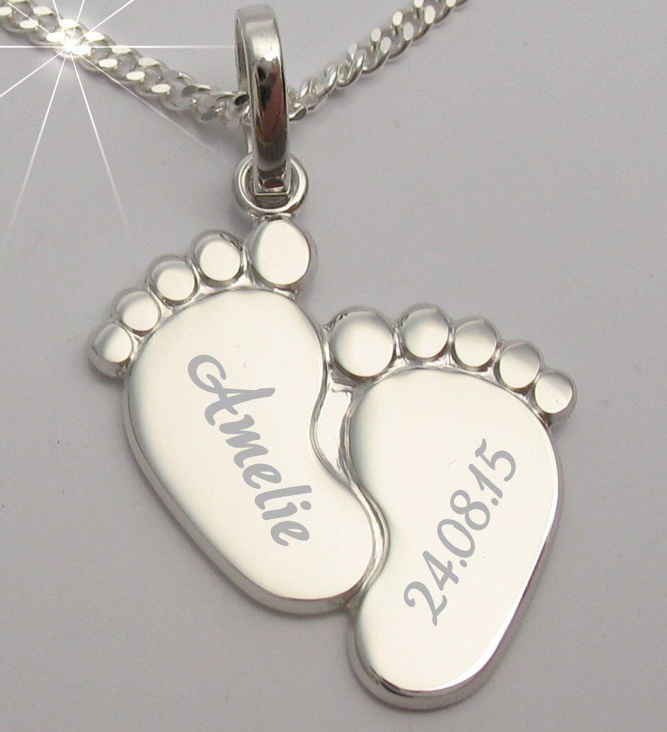 Baby Taufe Füßchen Füße Herz Ident Armband mit Gravur Name Datum Silber 925 VG