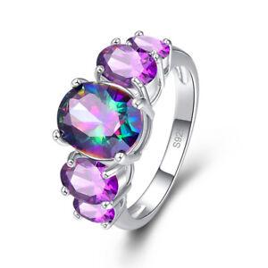 Elegant Charm Gemstone Rainbow Topaz /& Amethyst Jewelry Silver Ring Size 6 7 8 9
