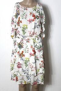 KOTON-Kleid-Gr-36-creme-weiss-knielang-Sommer-Kleid-mit-bunten-Blumen