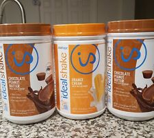 ideal shake lot of 3 tubs.Two chocolate peanut butter & one Orange cream.