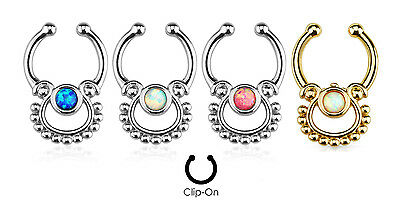1pc Non-Piercing Single Opal Septum Hanger Clip-On Fake Nose Ring Body Jewelry