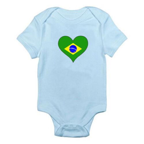 BRÉSILIEN Drapeau dans un cœur Shape-Brésil//Amérique du Sud à Thème Baby Grow//Ange