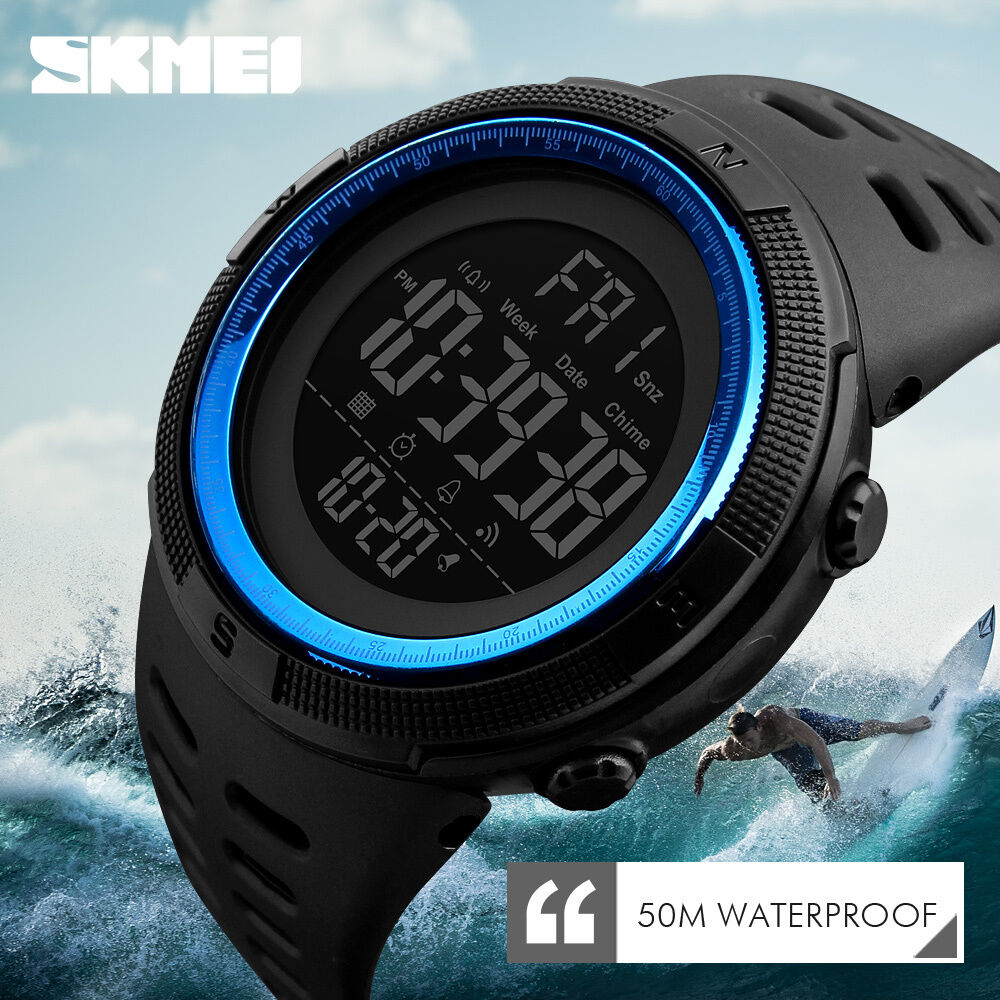 Skmei 1251 Men S Sport Watch Dual Time Led 5atm Military