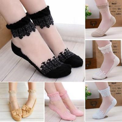 WOMEN CASUAL CUTE ANKLE HIGH LOW CUT ULTRA THIN INVISIBLE SILK CRYSTAL LACE SOCK