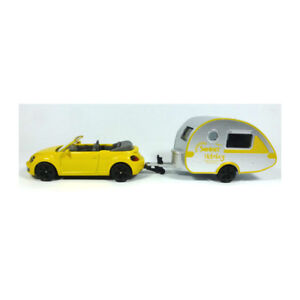"Siku 1629 VW Beetle Cabrio gelb mit Wohanhänger ""Summer Holiday"" (Blister) NEU!°"