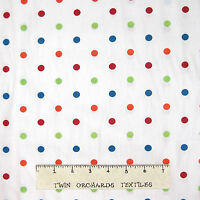 Polka Dot Fabric - Red Orange Green Blue Dots On White - Cotton Yard X 58/60