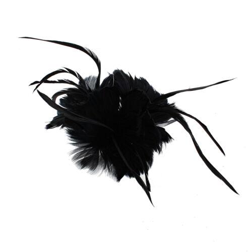 Zac/'s Alter Ego coloré Feather fasinator sur concord clip et broche PIN
