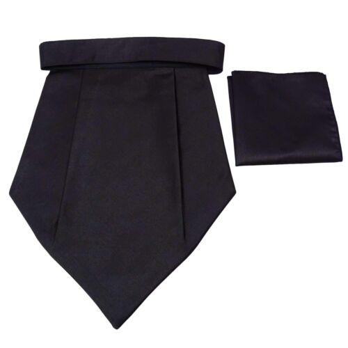 Schwarzes Poly Satin Tuxedo Couture Halstuch Cravat Ascot Hochzeitsfest