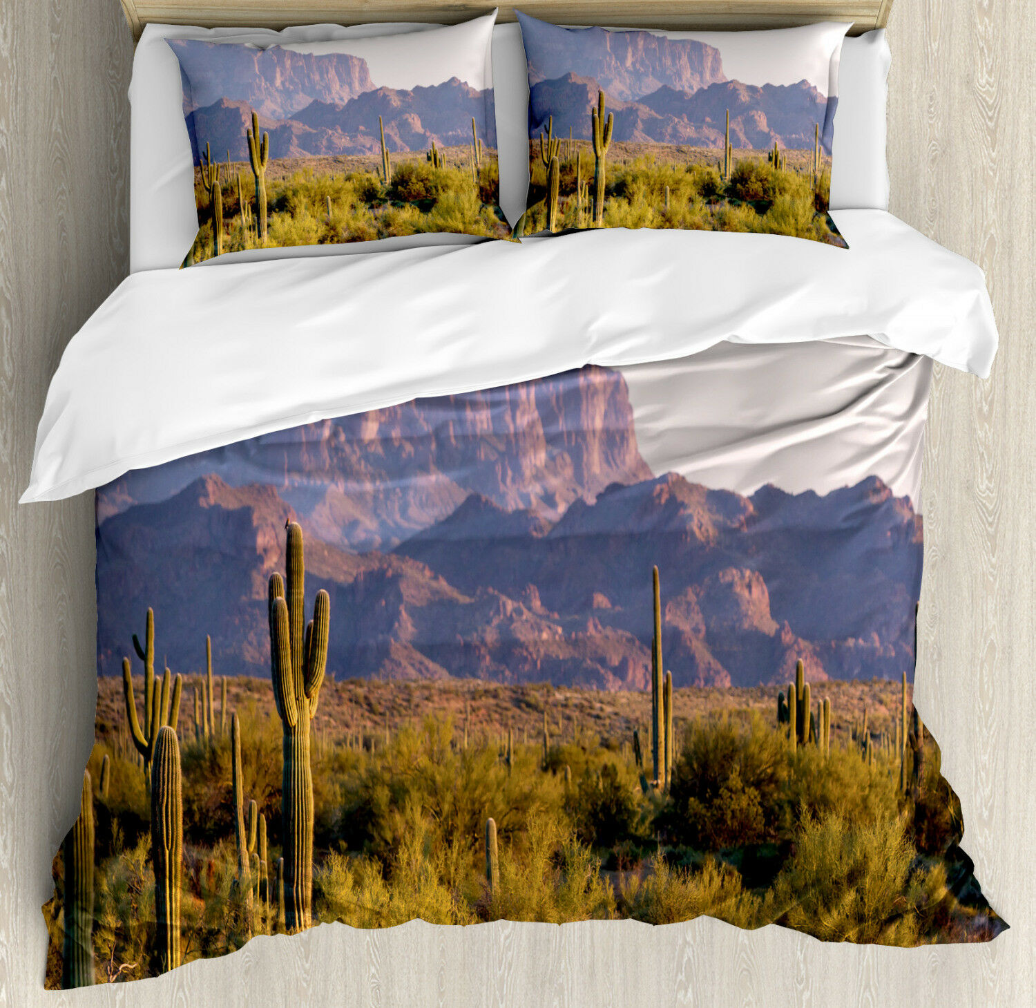 Landscape Duvet Cover Set with Pillow Shams Cactus Mountain in Spring Print