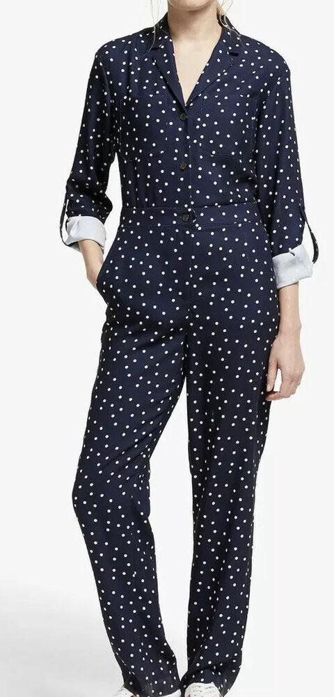 Bnwt Boden Tillie Navy Spot Imprimer Imprimer Jumpsuit Taille 12