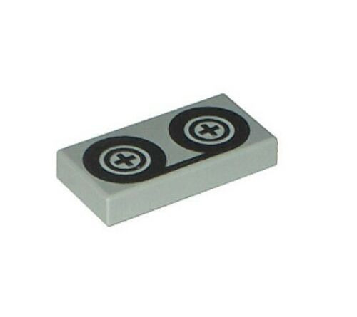 LEGO VIDEO TAPE TILE ~ Recorder Reel Printed Gray 1x2 Minifigure VHS NEW