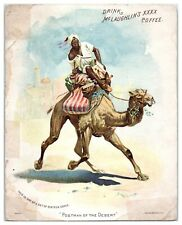 Drink McLaughlin's XXXX Coffee, Desert Postman Camel Victorian Trade Card *VT17