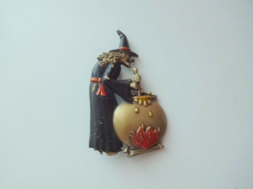 Vtg Halloween Spelling Witch Pin Brooch Black Hat