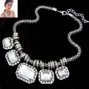 2015 Charm Jewelry Chain Pendant Crystal Choker Chunky Statement Bib Necklace